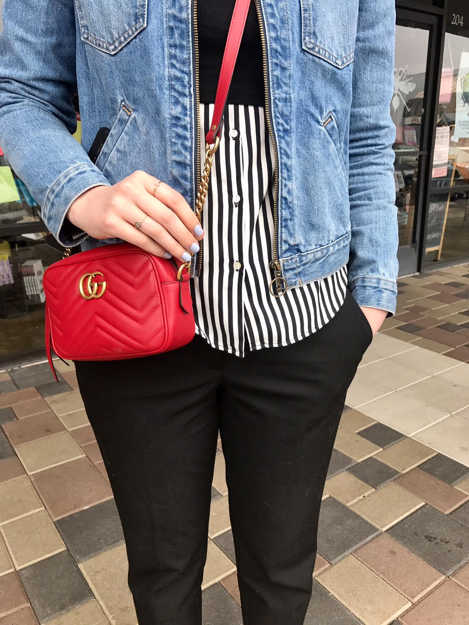 Red Gucci Marmont Mattelasse Mini