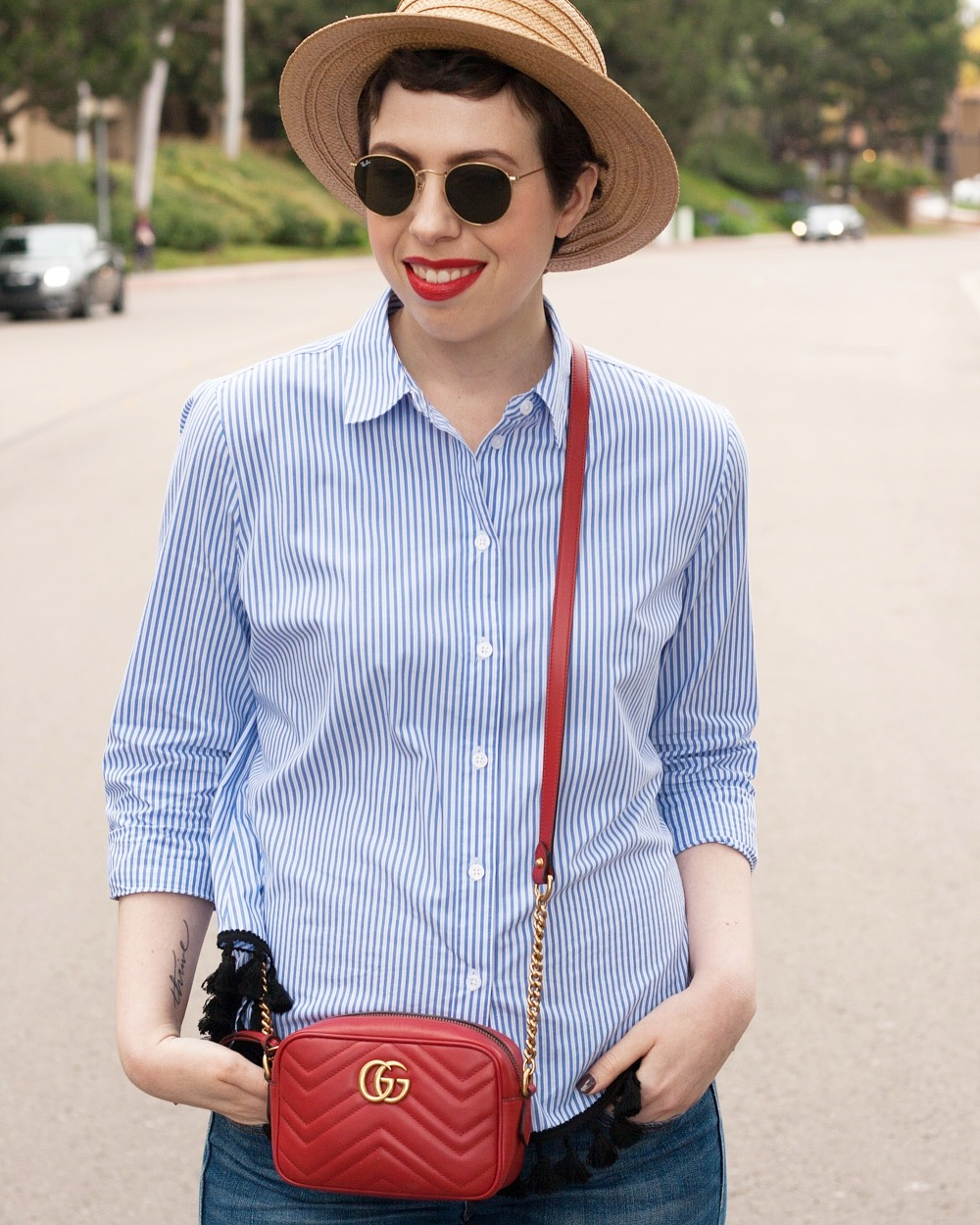 Striped Who What Wear short, Hinge boater hat, red Gucci Marmont Matelasse bag