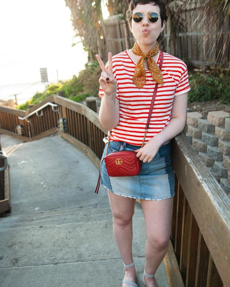 Striped Madewell tee, jean skirt, bandana neck tie