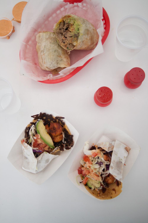 Shrimp tacos and California burrito
